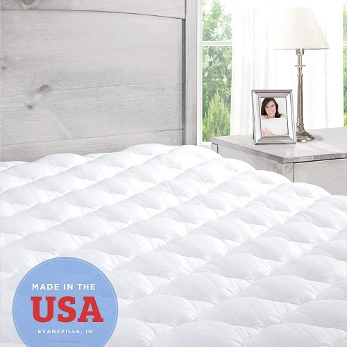 Pillowtop Mattress Topper with Fitted Skirt, Extra Plush Pad Found in Marriott Hotels - Made in the USA, Twin Size